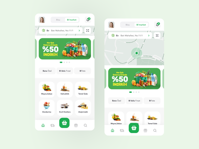 BiSU App - Water & Grocery Ordering creative branding ordering flat minimal shop basket water ui ux free delivery map navigation courier figma mobile colorful grocery app