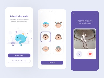 Quistudy App - Onboarding & Quiz application card game test usability learning creative lessons quiz ui ux gamification flat minimal color app android ios education colorful