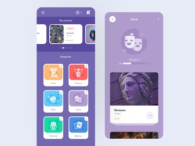 Quistudy App - Main Screen usability minimal creative ui ux quiz colorful color education android ios learning gamification test game card lessons app application flat