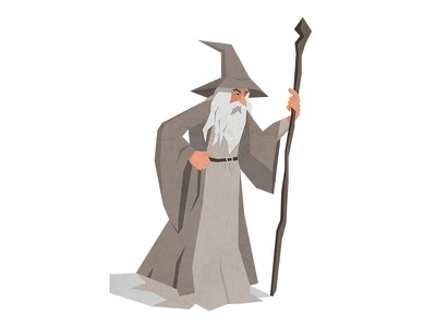 Gandalf wizard gandalf creative tolkien hobbit flat earth middle design character illustration