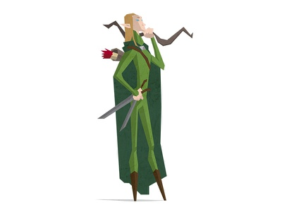 Elf elf creative tolkien hobbit flat earth middle design character illustration