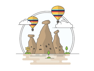 Landmarks of Turkey - Cappadocia adventure character building line illustration creative history art digital architecture turkey design flat