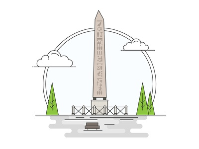Landmarks of Turkey - Egyptian Obelisk adventure character building line illustration creative history art digital architecture turkey design flat
