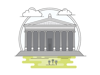 Landmarks of Turkey - The Temple of Artemis adventure character building line illustration creative history art digital architecture turkey design flat