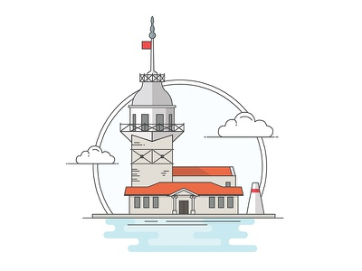 Landmarks of Turkey - Maiden's Tower adventure character building line illustration creative history art digital architecture turkey design flat