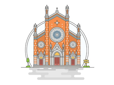 Landmarks of Turkey - St Antuan Church adventure character building line illustration creative history art digital architecture turkey design flat