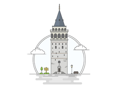 Landmarks of Turkey - Galata Tower adventure character building line illustration creative history art digital architecture turkey design flat