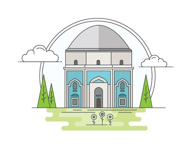 Landmarks of Turkey - The Green Tomb adventure character building line illustration creative history art digital architecture turkey design flat