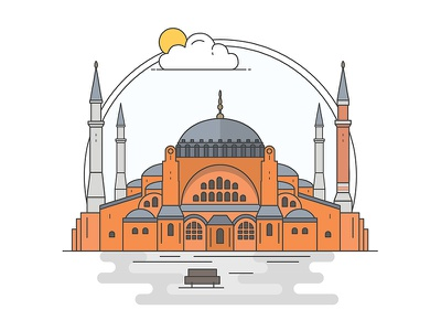 Landmarks of Turkey - Hagia Sophia adventure character building line illustration creative history art digital architecture turkey design flat