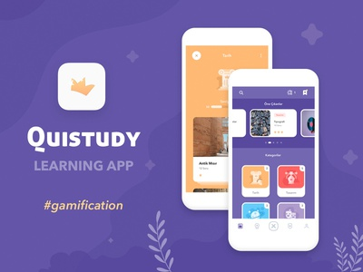 Quistudy App test quiz ios education lessons gamify game color colorful flat minimal creative usability testing usability learning gamification mobile