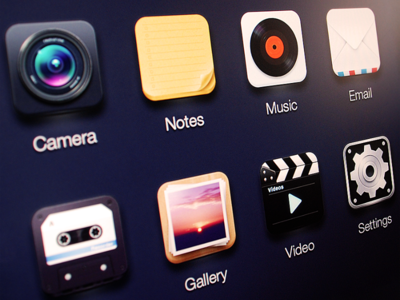 App icon icon ui camera notes music note email mail gallery video settings recorder