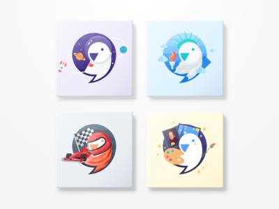 Meiqia Parrot liberty racing astronaut parrot logo