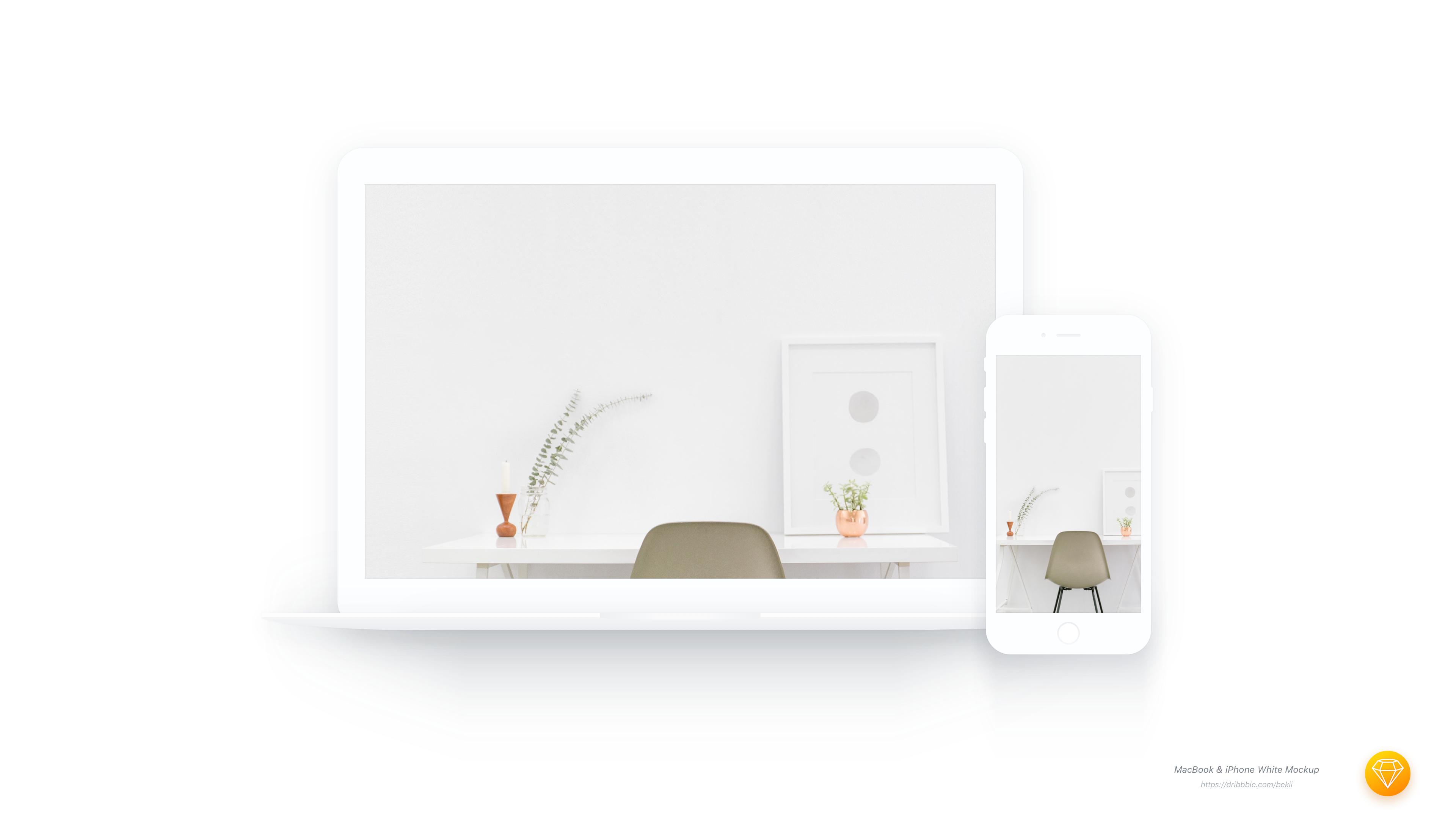 Macbook iphone white mockup real pixel