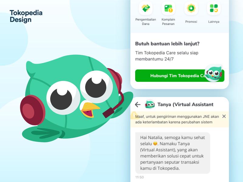 Tanya - Tokopedia Care Representative mascot branding ui vector icon illustration design