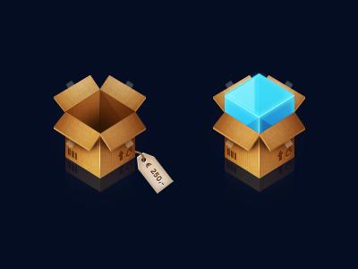 Boxes box carton tag price blue brown paper reflection