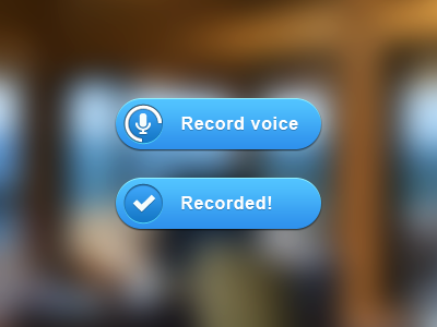 Record voice record voice button blue blur background animated web ui ux time progress pizza recorded gradient shadow highlight check microphone website work freelance user interface user experience long time no see web design