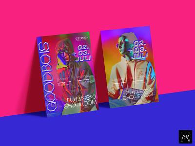 Goodbois Showroom FW19/SS20 print poster design goodbois fashion flat art direction logotype illustration abstract graphic design typography logo design funky overlay design posterart poster