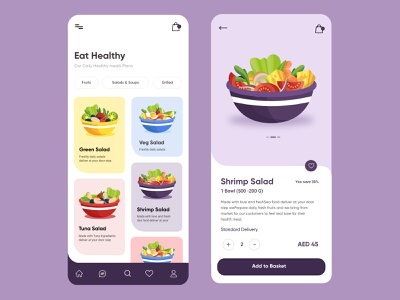 Fresh Healthy Salad Mobile Application UX UI Design minimal design salad bar web design healthyfood android app design ios app design mobile application ux ui designer healthy life creative illustration top ux ui designer ux ui design mobile app salad app fitness app fresh