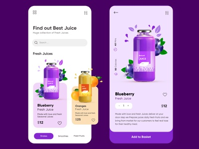 Mobile APP UX UI Design For Fresh Juices Company smoothies android app ios mobile app trends 2020 inspiration orange juice fruits food illustration creative top ux ui designer dubai designer ux ui design mobile app design juices minimalistic fresh colors