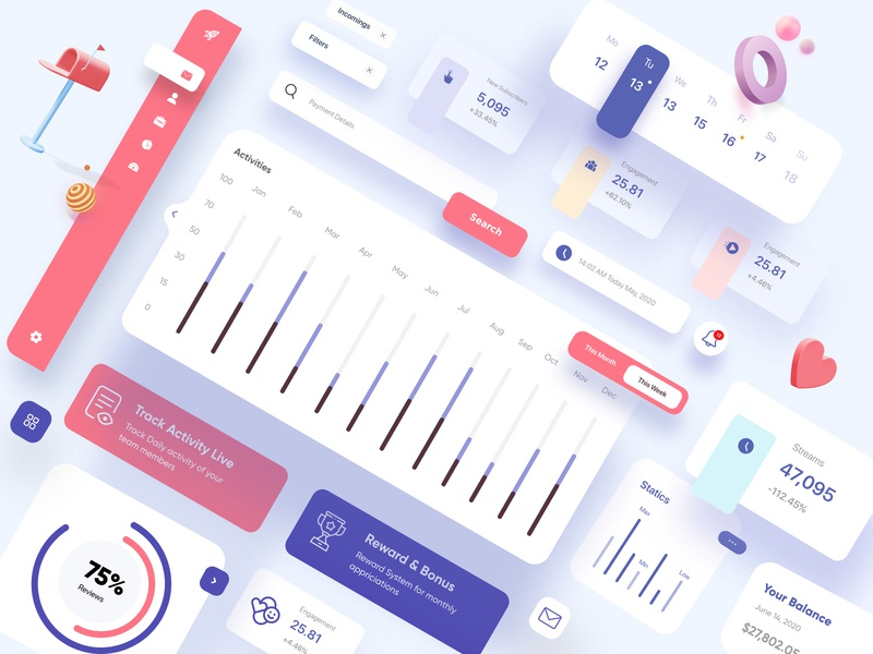 UI Elements / Light / Dark Theme UX-UI Design element cards stats ux ui design business task management style guide product design mobile mobile ui dashboard ui elements creative top ux ui designer web design illustration mobile app dubai designer