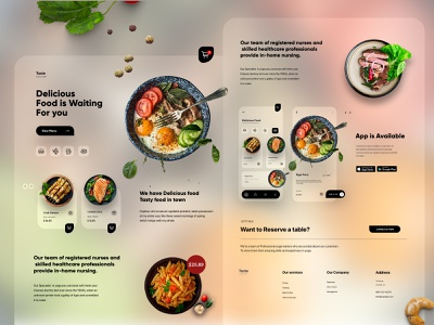 Food Mobile APP Landing UX-UI Design landing page web interface webdesign homepage illustration uidesign ui website design