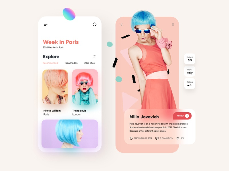 Fashion Mobile App UX/UI Design mobile ux ui ux colorscheme blurred cards paris blur colors fashion app mobile app design mobile ui mobile clean ui design top ux ui designer minimal web design illustration mobile app dubai designer