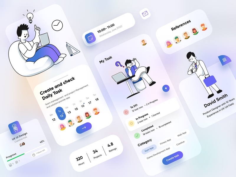 Task Management UX/UI Design typogaphy banking business meeting scrum dashboad task management mobile mobile apps blur 2d cards branding top ux ui designer minimal vector web design creative illustration mobile app