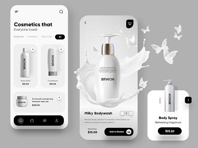 Cosmetic Mobile App UX/UI Design mobile app ui design minimal mobile ux ui design mobile apps mobile ui mobileapp mobileappdesign app interface ui uiux ux