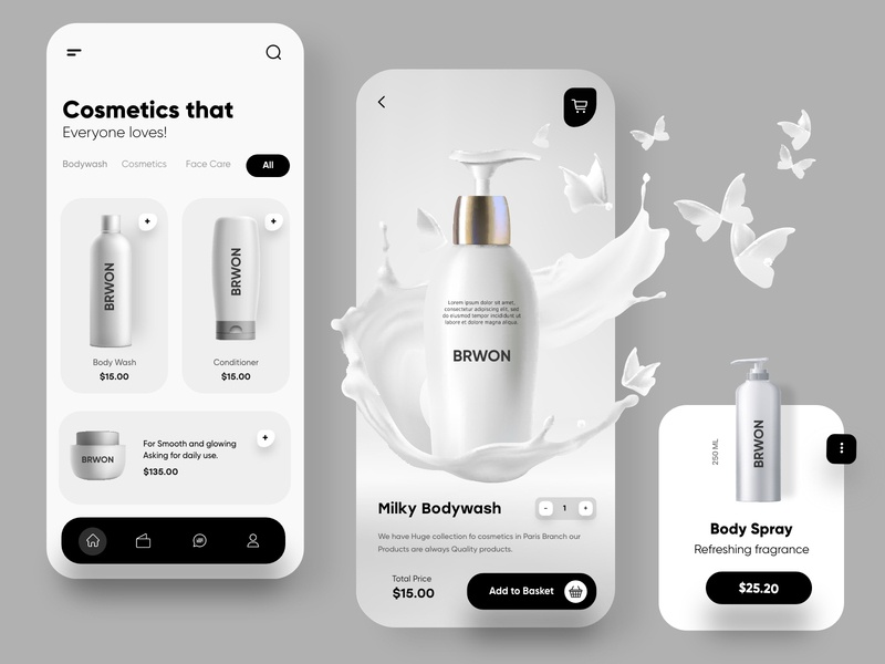 Cosmetic Mobile App UX/UI Design beauty cosmetics black minimalist cards mobile mobile ui illustrations typography illustration ui design clean vector minimal web design creative dubai designer top ux ui designer mobile app