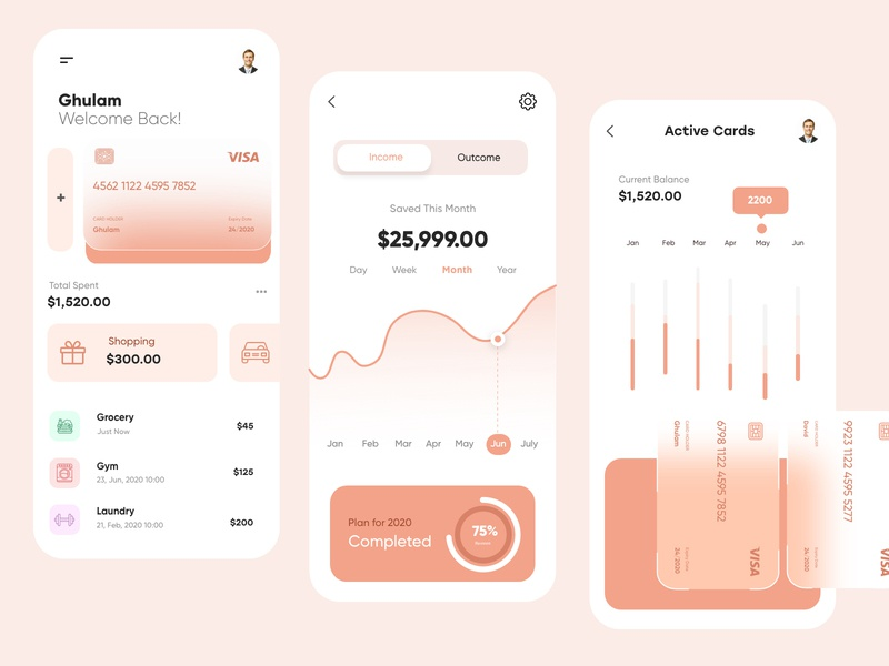 Banking Mobile App -UX/UI Design mobile cards ui mobile application finance app banking app business blur concept typogaphy mobile ui mobile apps finance character banking vector minimal creative illustration mobile app