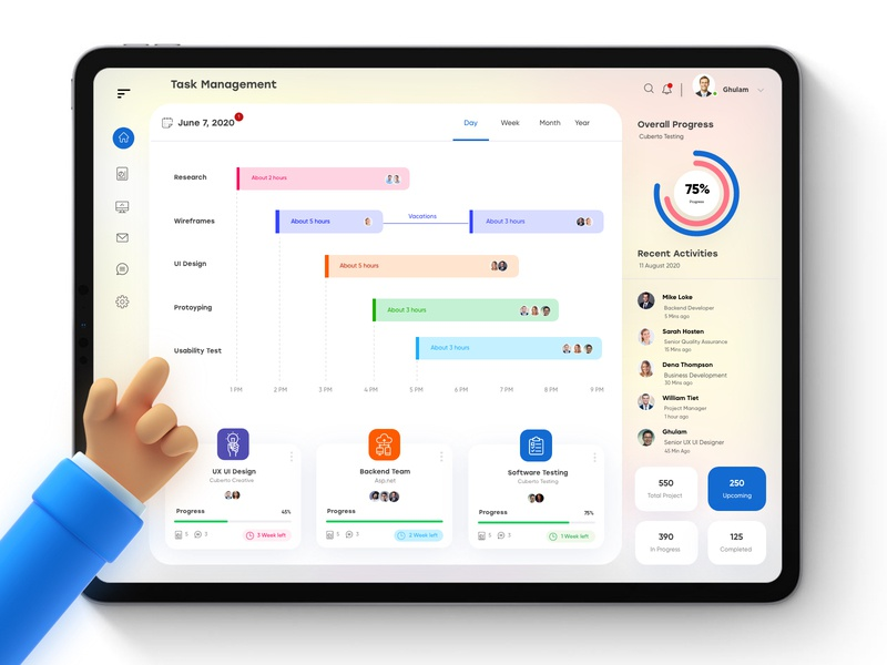Task Management Dashboard  UX UI Design typography ios app business managment teams scrum management app dubai designer team cards blurred dashboad dashboard ui branding web design minimal creative design mobile app task management