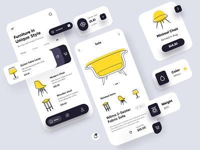 Furniture Mobile APP mobile ui ux interface uiux mobileappdesign mobileapp app mobile app design mobile furniture design ui design minimal illustration mobile app
