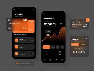 Dark UI for finance App mobileapp interface app mobileappdesign ux ui designer finance app illustrations mobile apps dark ui finance ux clean logo creative minimal mobile app