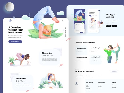 Yoga Landing page UX-UI landing page web interface webdesign homepage illustration uidesign ui website design