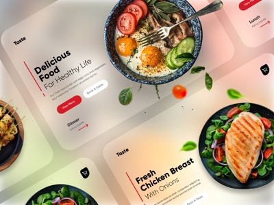 Food Landing Banners UI mobile ux ui design landing page design landing page cards ui blurred background food app food landing design banner design mobile app design ui design branding creative minimal design dubai designer mobile app web design illustration