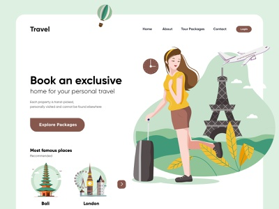 Travel Landing Page UX-UI Design landing page web interface webdesign homepage illustration uidesign ui website design