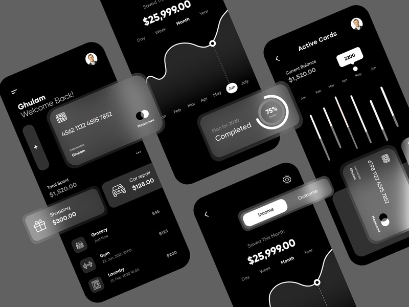 Finance App Dark Theme mobile mobile ui product page product design typography animation web deisgn mobile apps mobile app design ux ui design branding ui design top ux ui designer minimal web design illustration mobile app