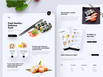 Sushi Landing page UX/UI Design vector branding ui design illustration top ux ui designer minimal typography sushi web design and development web design webdesign website landing page landingpage