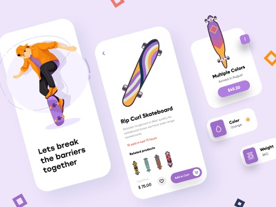Skateboard Mobile App mobile app ui design minimal mobile ux ui design mobile apps mobile ui mobileapp mobileappdesign app interface ui uiux ux