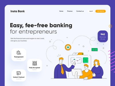 Insta Bank Landing Page UI Design interface ui ux uiux landing landing page landing page design landingpage minimal homepage page website web website design websitedesign
