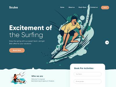 Scuba Landing Page Design landingpagedesign landingpage landing webdesign websitedesign web design website design minimal ui ux web