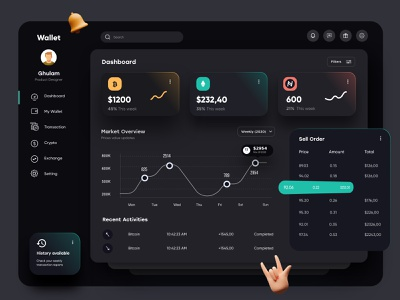 Wallet Dashboard Dark Theme ux uiux financial finance interface dashboad app admin design