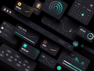 Dark Theme UI Elements landing page interface web webdesign homepage illustration uidesign ui website design