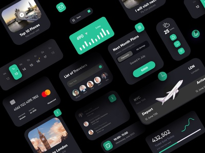 Travel UI Elements Dark Theme design website ui uidesign illustration homepage webdesign web interface landing page