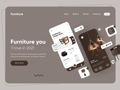 Furniture App Landing Page Design design website ui uidesign illustration homepage webdesign web interface landing page