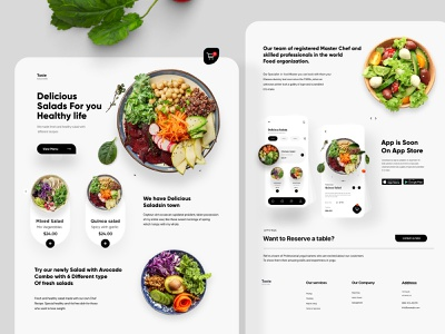 Food landing Page Design minimal web design website design web interface ui uiux ux landing landingpage webdesign website