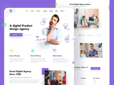 Digital Agency Landing Page Design project websitedesign landing page design website design typography minimal clean digital agency website design illustration uiux web design webdesign landing landingpage web ui ux
