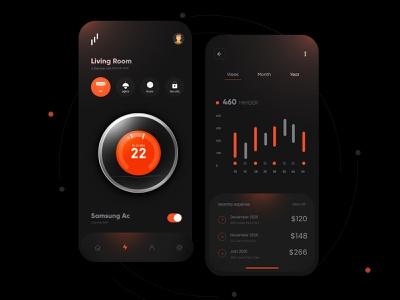 Smart Home Dark Theme Design interface ux uiux ui app mobile mobile ui mobile app minimal mobileappdesign mobileapp mobile apps ux ui design ui design