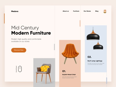 Furniture Landing Page Design web ux landingpage web design landing interface ui uiux illustration design furniture digital website clean minimal typography landing page design websitedesign website design project