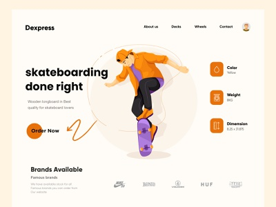 Skateboard Landing Page Design interface homepage website design websitedesign landing page design minimal clean typography website skateboard design illustration uiux ui interior landing web design landingpage ux